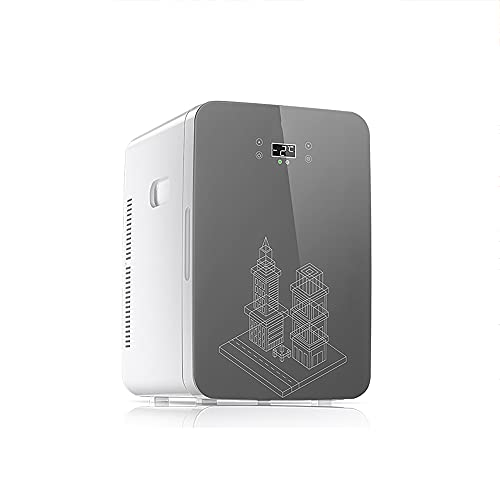 QPMY Mini Refrigerador, Refrigerador Pequeño De 22 L, Refrigerador Y Calentador Portátil, Pantalla Digital Inteligente, Gran Capacidad, Silencioso Y De Bajo Consumo,Gris