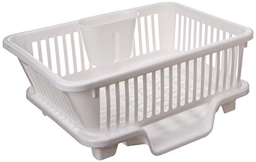 Basicwise Plastic Dish Rack with Drain Board and...