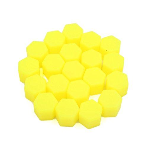 sourcing map 20pcs 17mm lumineux jaune vis écrou roue voiture Cache-vis moyeu Bouchon protection