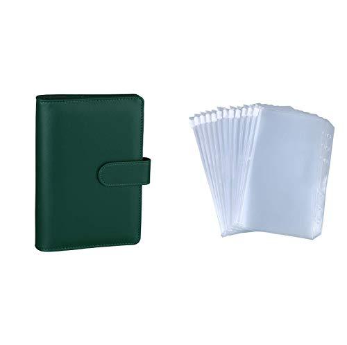 Antner A6 PU Leather Notebook Binder (Dark Green) Bundle   12 Pieces A6 Size Binder Pockets