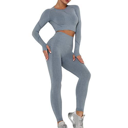 Dihope Conjunto Deportivo para Mujer 2 Piezas Top Corto de Manga Larga de Running Pantalones de Cintura Alta Elásticos Leggings de Fitness sin Costuras para Yoga Gimnasio Trotar,Azul,S