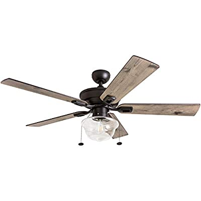 """Prominence Home 80091-01 Abner Vintage Indoor/Outdoor Ceiling Fan, ETL Damp Rated 52"""" LED Schoolhouse Edison Bulb, Rustic Farmhouse/Barnwood Blades, Espresso Bronze"""