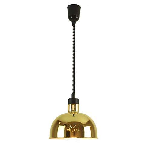 VISTANIA Moderne métal Pendentif lumière télescopique Simple tête constante température Lampe E27 250W Buffet Alimentaire Chaleur Lampe Mahjong Table télescopique Lift Lustre,Gold,17x24cm