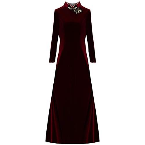 JFX Cheongsam - Estilo Chino Otoño E Invierno Terciopelo de Oro Versión Modificada Modificada Cheangsam Vestido Tang Fit Dress Femenina (Color: Vino Rojo, Tamaño: X-Large),Vino Rojo,Grande