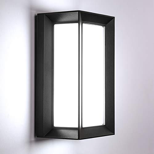 Lightess Apliques de Pared Exterior 18W LED Lámpara de Pared Moderna Impermeable IP66 Luz Simple Suave 1800lm 6500K Blanco Frío Iluminación para Balcón, Pasillo, Corredor, Baño, Jardín, Negro