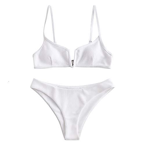 ZAFUL Damen Bikini Set Zweiteilige Badeanzug High Cut Bralette Sexy Swimsuit Sommer (Weiß, M)