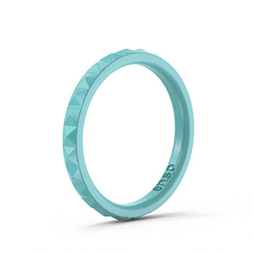 Enso Womens Stackable Silicone Rings Turquoise. Size: 6