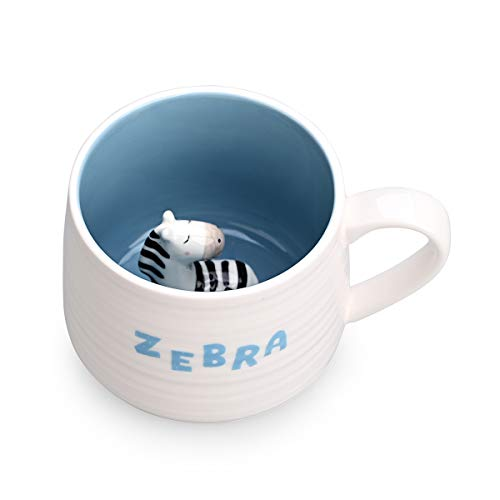 Ceramic Coffee Cup Funny Tea Cups Animal Inside with Zebra Cartoon Handmade Mug For Friends Roommates Family or Children 3D Cute Animal Coffee Cup Surprise Gift Birthday Gift (13.5 Oz ZEBRA)