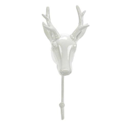 Landon Tyler Porte-Manteau Crochet orné de tête de cerf Blanc