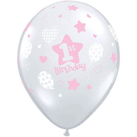 10 Pink Diamond Latex Balloons Girls 1st Birthday Party Supplies