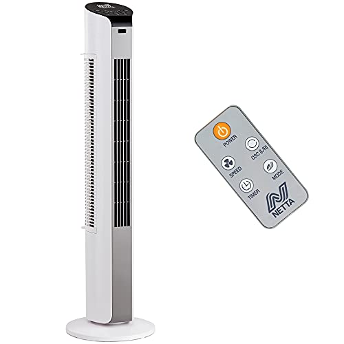 NETTA White Oscillating 32INCH Portable Tower fan, 3 Speed Settings With 7 Hours Timer Function And Remote Control - 35W Motor.