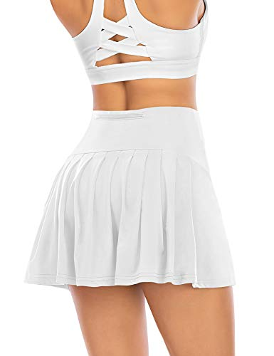Athletic Pleated Tennis Skirts for Women with Shorts Pockets High Waisted Running Workout Golf Skorts (White-2, Medium)