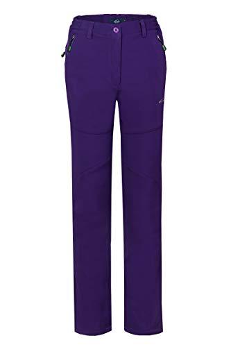 svacuam Women's Windproof Waterproof Snow Pants Outdoor Hiking Fleece Pants(Purple,XL)
