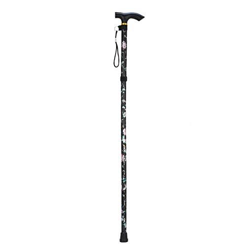 Bastón plegable, bastón ajustable, estampado de cinco secciones, antideslizante, muletas para hombres, mujeres, ayuda para la movilidad equilibrada (negro)