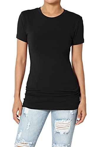 TheMogan Women's Basic Crew Neck Short Sleeve Slim Fit Longline T-Shirt Black XL