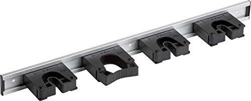 Meister Gerätehalterleiste 510 mm - Geräteleiste & 4 Gerätehalter - Aluminium - Leichte Montage / Werkzeughalter / Gerätehalter für Gartengeräte / Stabile Werkzeugleiste für die Wand-Montage / 9953140