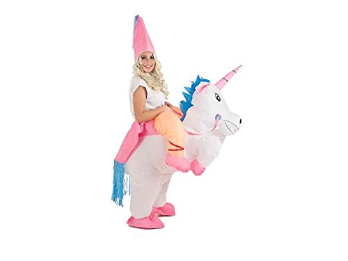 Creaciones Llopis- Disfraz Adulto Hinchable Unicornio con Princesa, Multicolor (9462)
