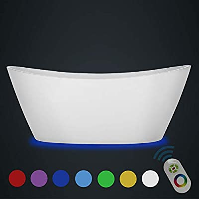 Empava 59 in Acrylic Freestanding Bathtub 7 Color Changing LED Lights Soaking Tub with Wireless Remote Control, Glossy White
