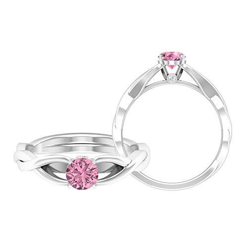 Anillo de compromiso de 5 mm de turmalina, anillo de diamante HI-SI y turmalina, anillo de boda cruzado, anillo solitario de oro macizo, 14K Oro blanco, Size:EU 51