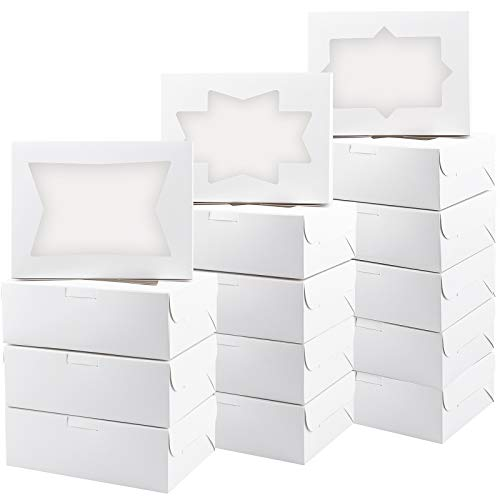 Kucoele 30pcs Cookie Boxes with Window White Bakery Treat Boxes Loaf for Cupcakes, Cookies, Candies and Pastries 8 x 6 x 2.5 Inches