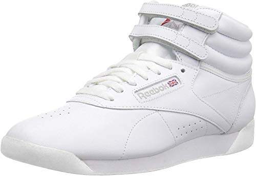 Reebok Damen Freestyle Hi Walking-Schuh, weiß/Silber, 35 EU