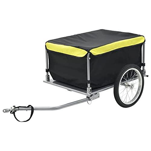 vidaXL Rimorchio da Bici Trasporto Merci Nero Giallo 65 kg Carrello Bicicletta
