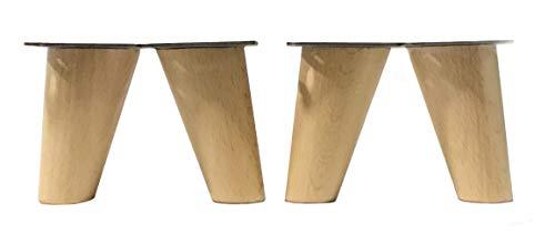 patas para muebles madera haya. Patas cónicas con inclinación, y placa de montaje ya instaladas. 8 cm alto color natural (8...