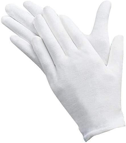 AYUQI 12 paia di guanti in cotone bianco, guanti in tessuto bianco, guanti in cotone di cura, comodi e traspiranti, per la cura della pelle, esaminando gioielli, lavoro quotidiano, ecc.