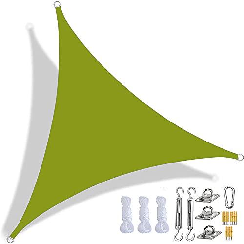 CANYUE Toldo triangular, impermeable, con bloque UV, para fiestas de jardín, terraza, con kit de fijación y cuerda (2 x 2 x 2 m, amarillo-verde)
