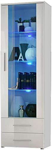Con una vitrina con cajones 2 y 3 de estantes de vidrio, caja de cristal,White
