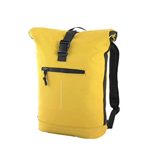 Rada Rolltop Trucker 3 | aus Planenmaterial | Schulrucksack | 25 Liter | Wasserabweisender Rucksack | Laptopfach 17 Zoll (gelb)