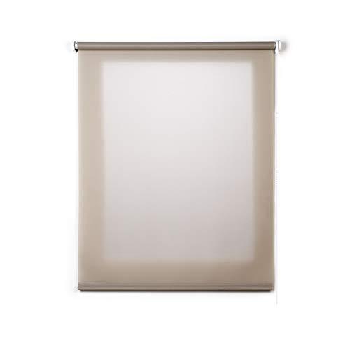 Stores Deco Estor Enrollable traslúcido Liso, Estor para Ventanas y Puertas (80 cm x 180 cm, Piedra)