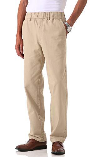 Soojun Men's Cotton Relaxed Fit Full Elastic Waist Twill Pants, Khaki, 36W x 30L