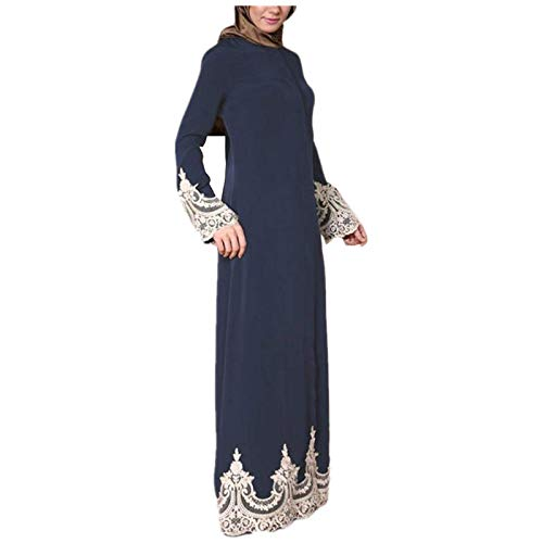 FOTBIMK Robe De Couture En Dentelle De Couleur Unie Pour Femmes Robe Musulmane à Manches Longues Robe De Culte Islamique Robe Festival De Gurban(Bleu,Medium)