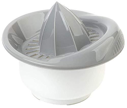 Design 1X Zitronenpresse/ Zitruspresse / Orangenpresse / Presse für Zitrusfrüchte mit Behälter /praktischer Küchenhelfer in der Farbe Grau / Fassungsvermögen: 0,5 Liter / Durchmesser: 15cm