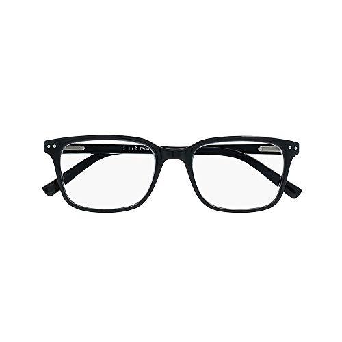 Unisex Lesebrille – Rechteckige, Progressive, Multifokal Gläser - Leichte, Robuste und Bequeme Lesebrille - + 1,50 Dioptrie – Für Damen und Herren - Black - Silac - 3in1 Black 7504