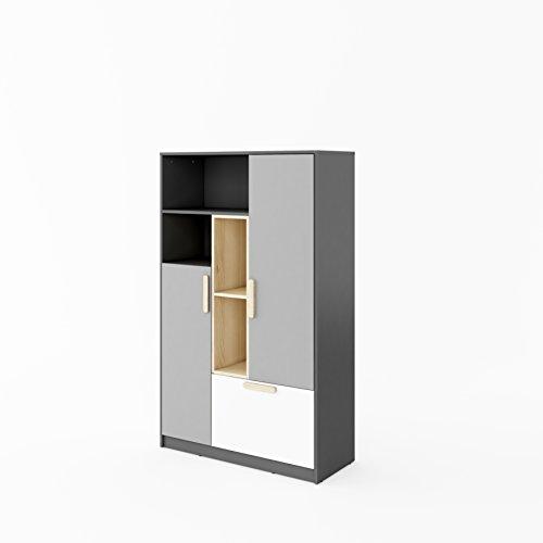 Furniture24 Schrank POK P05, Mehrzweckschrank, Kommode, Highboard mit 2 Türen und 1 Schubkasten1, für Jugendzimmer und Kinderzimmer