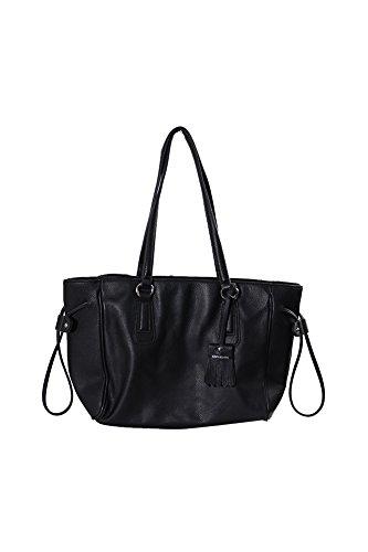 Giani Bernini Womens Kilty Leather Shopper Tote Handbag Black Medium
