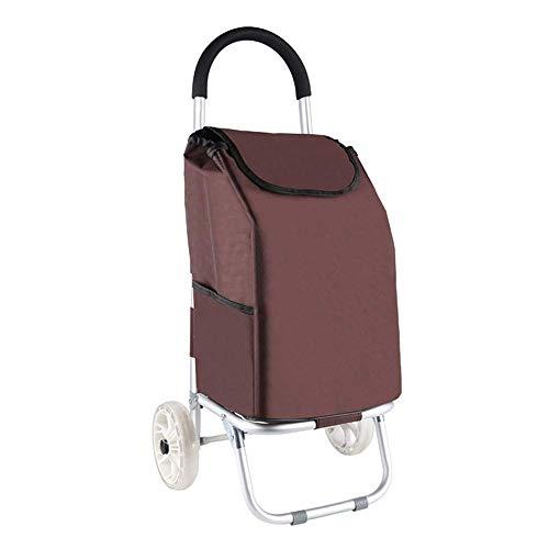 YXYXX Carro de compra a prueba de agua, carro antiescaras de aleación de aluminio antirrobo para escaleras, utilidad plegable (2 estilos) / Marrón/B