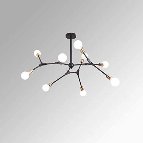 yqs Lustre Lumière Lampe Lustre Lustre Verre Fer Fer Verre Autres Lustres En Forme de Lustre En Fer Forgé Led Plafond,9 Têtes