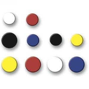 Nobo 50 Stück 20 mm runde Pinnwand Magnete, je 120g Haftkraft, in 5 Farben, Memoboard Whiteboard Haftmagnete