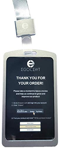 Ausweishalter aus Aluminium von EGOCENT in Silber, vertikal mit hochwertigem Trageband für Werksausweis, Besucherausweis, Messen - Schutzhülle für gängiges Kartenformat zum Umhängen