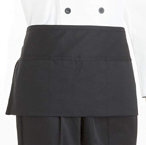 "Geniechef 4 Pack Waist Apron, 3 Pockets, Cooking Kitchen Waiter Aprons for Men Women(11"" x 22"", Black Polyester)"
