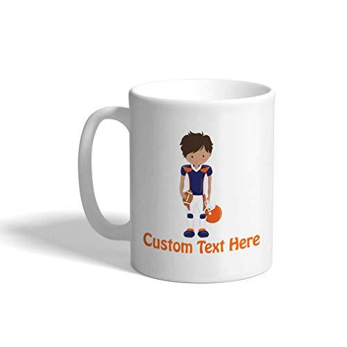 Aangepaste Grappige Koffiemok Koffie Beker Blauw Oranje Jongen Voetbal S Wit Keramische Theekop 11 OZ Personalized Text Here Multi01
