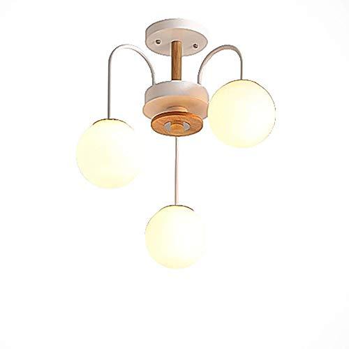 Suytan Sputnik Chandelier, E27 Lámpara Colgante, Candelabros de Luz de Techo de Rama de 3 Luces con Pantalla Esmerilada, Lámpara Decorativa Escalera para el Hogar, Blanco + Madera, 5 Luces,3 Luces