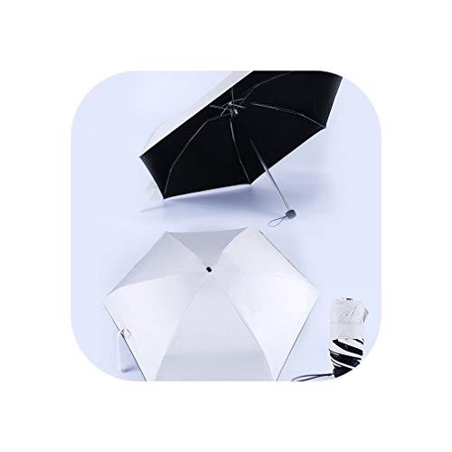 Mini Pocket Umbrella Sun Protection Folding Rain Parasol Female Gift Girls Anti Uv Waterproof Portable Travel Umbrella,Creamy White