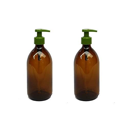 Versandfuxx24 - 2er Set Seifenspender   Lotionsspender 500 ml Glas Braun