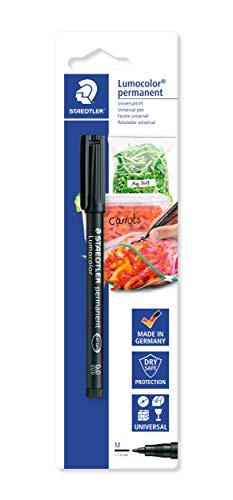 STAEDTLER Folienstift für die Küche Lumocolor permanent pen 317, zur Beschriftung von Gefrierbeuteln und -boxen, Vorratsgläsern und vielem mehr, wasserfest, lichtbeständig, Schwarz, 317-9 BK-1
