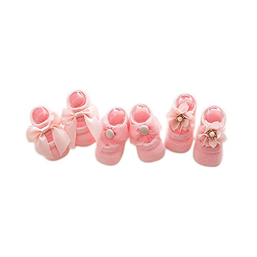 Goodplan Baby Socken Baumwollsocken Kleinkind Fußbodensocken Rutschfeste Spitze Fliege Socken Anzug für 0-1 Jahre Alt (Pink, S)