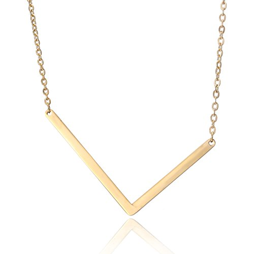 RINHOO Stainless Steel Gold Initial Alphabet 26 Letters Script Name Pendant Chain Necklace from A-Z(L)